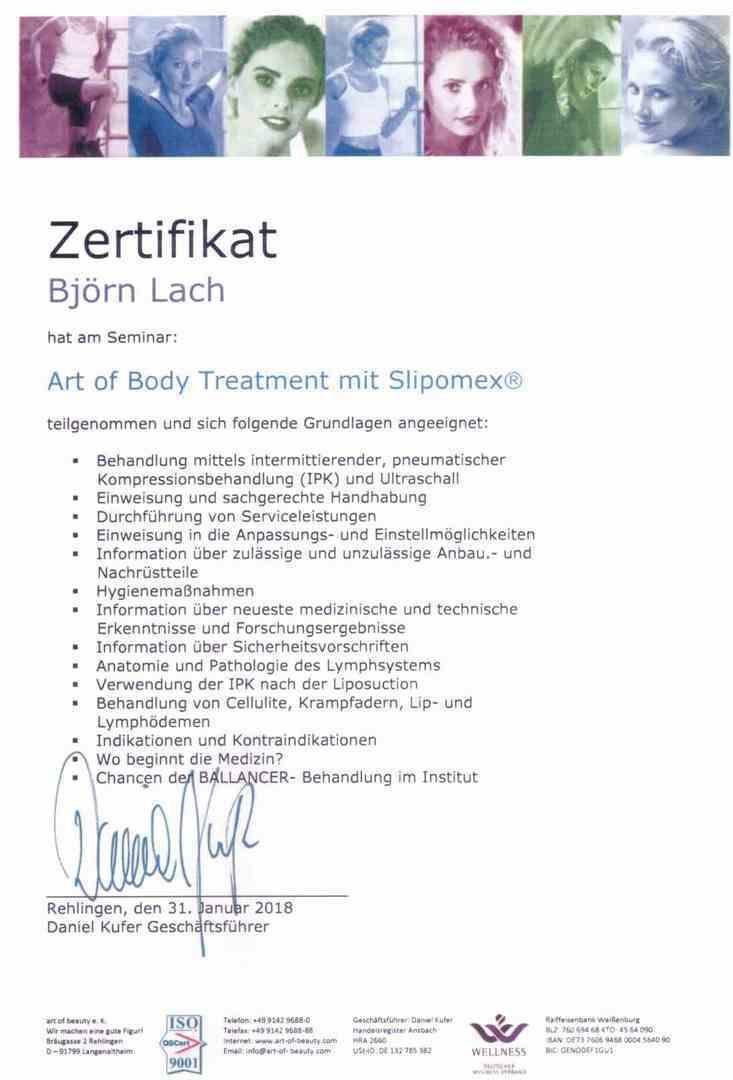 Kosmetik Studio Dornheim - Zertifikat von Sandra Klingenstein
